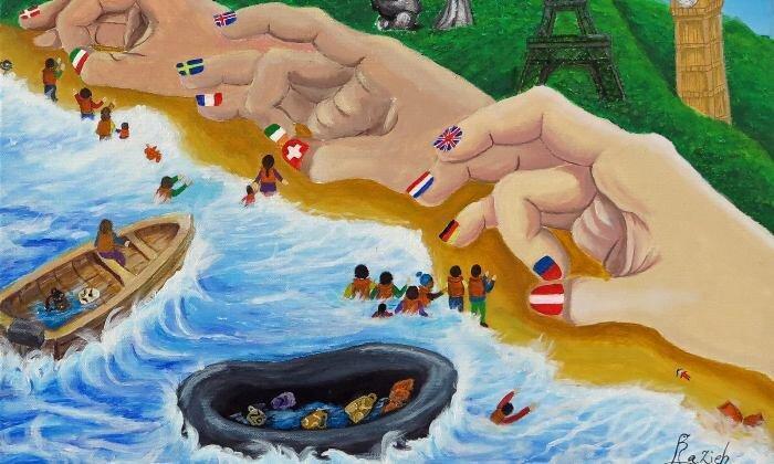 آرزوهای از دست رفته ، نقاشی های پناهجویان کمپ لسبوس یونان در راه حراج کریستی ، ردپای ایرانی ها در نقاشی ها