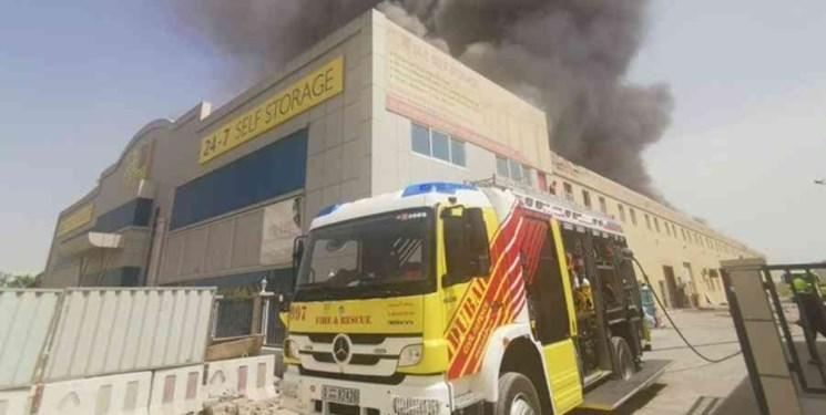 آتش سوزی در منطقه صنعتی جبل علی امارات